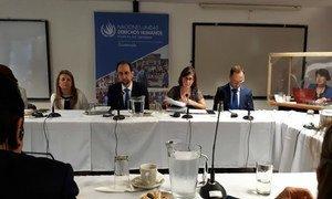 UN High Commissioner for Human Rights Zeid bin Ra'ad Zeid al-Hussein addresses the press in El Salvador.