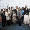 Secretary-General António Guterres and UNICEF Executive Director Anthony Lake with Children's Activists for UNICEF World Children's Day.