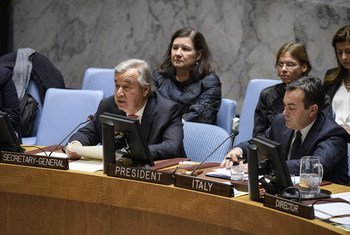 Secretary-General António Guterres addresses the Security Council meeting on trafficking of persons in conflict situations.