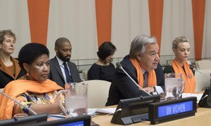 Ms. Phumzile Mlambo-Ngcuka, Executive Director of UN Women and Secretary-General Antonio Guterres participate in the 2017 United Nations Official Commemoration of the International Day for the Elimination of Violence against Women.