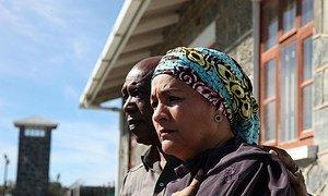 UN Deputy Secretary-General Amina J Mohammed and Nelson Mandela Foundation Trustee Tokyo Sexwale at Robben Island on 25 November 2017.