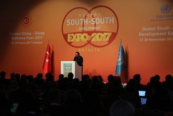 Fekitamoeloa Utoikamanu, High Representative for the Least Developed Countries, Landlocked Developing Countries and Small Island Developing States (UN-OHRLLS) addresses the opening ceremony of the Global South-South Development Expo 2017 in Antalya, Turkey. Photo UN News/Maoqi Li