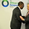 UN Secretary-General António Guterres greeted by President Alassane Ouattara of Côte d'Ivoire at the start of the 5th AU-EU summit.