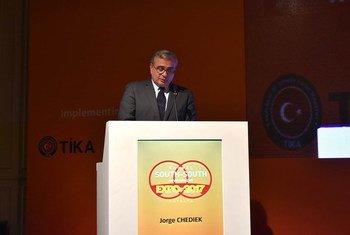Jorge Chediek, Directeur du Bureau des Nations Unies pour la coopération Sud-Sud (UNOSSC) à l'Expo sur la coopération Sud-Sud, à Antalya, en Turquie. Photo ONU Info/Laura Quiñones