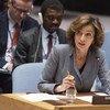 La Directrice générale de l'UNESCO, Audrey Azoulay, devant le Conseil de sécurité. le 14 avril, Mme Azoulay a condamné le meurtre des trois employés du journal équatorien El Comercio.