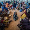 Internally displaced women and children at a World Food Programme (EFP) center in Mogadishu, Somalia. Thousands of people poured into the Somali capital in mid-2017 in search for food and water at the severe drought takes hold in remote rural regions. Photo by Giles Clarke for Getty/OCHA
