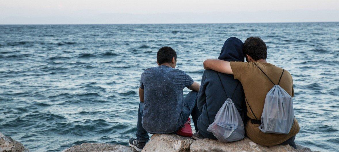 Des migrants sur l'île grecque de Lesbos (archives). Photo OIM 2016/Amanda Nero