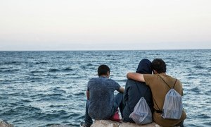 Migrants in Lesbos.
