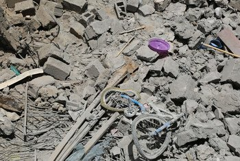 A child's bicycle lies amid rubble of a destroyed house in Yemen's capital, Sana'a. (File)