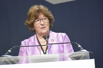 Special Representative for International Migration, Louise Arbour, addresses the preparatory meeting of the intergovernmental conference to adopt the Global Compact for Safe, Orderly and Regular Migration.