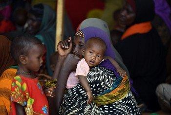 أم صومالية تنتظر مع أطفالها تلقي الطعام في مخيم للنازحين داخليا في دولو، منطقة جيدو، الصومال.
