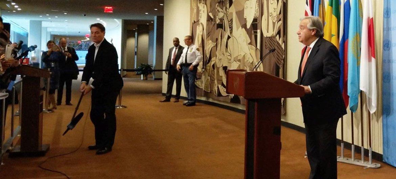 Secretary-General António Guterres addresses reporters at UN Headquarters.