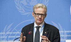联合国叙利亚问题特使德米斯图拉的人道主义事务特别顾问扬·埃格兰(Jan Egeland)12月7日在日内瓦举行记者会。图片:Violaine Martin