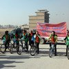UN-supported bicycle ride to help stop violence against women in Mazar-i-Sharif.