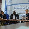 Michael Keating (second from right), the Special Representative of the UN Secretary-General (SRSG) for Somalia, addresses journalists during a press conference on the release of a UN Report on the Protection of Civilians in Somalia. The report was released in Mogadishu on 10 December, 2017.