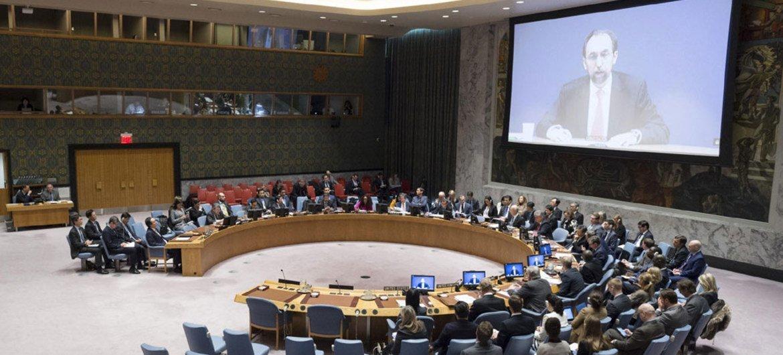 زيد رعد الحسين المفوض السامي لحقوق الإنسان يتحدث أمام المجلس عبر دائرة تليفزيونية مغلقة - الصورة: الأمم المتحدة