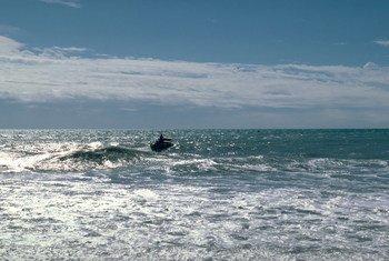 Un bateau de pêche au large des côtes de la République dominicaine.