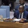 Le chef du Bureau régional des Nations Unies pour l'Afrique centrale (UNOCA), François Louncény Fall, devant le Conseil de sécurité de l'ONU (archive)