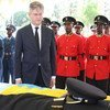 Under-Secretary-General for Peacekeeping Operations Jean-Pierre Lacroix takes part in a Dar es Salaam ceremony honouring Tanzanian peacekeepers killed in a 7 December 2017 attack on a UN Stabilization Mission (MONUSCO) base at Semuliki in Beni territory.