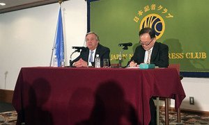 Secretary-General António Guterres speaks to journalists at a press conference at Japan National Press Club in Tokyo.