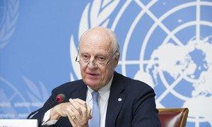 Staffan de Mistura, l'Envoyé spécial des Nations Unies pour la Syrie,  lors d'une conférence de presse à Genève (archives).