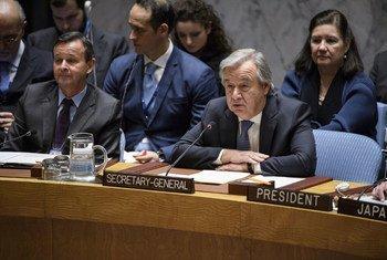 Le Secrétaire général de l'ONU, Antonio Guterres, s'adresse au Conseil de sécurité lors d'une réunion consacrée à la non-prolifération et à la Corée du Nord.