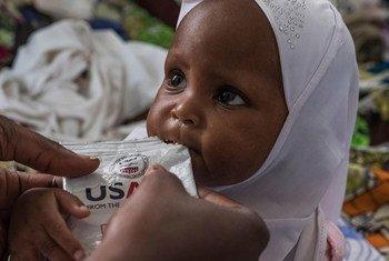 Bangui, République centrafricaine : Douyassi Magnificat, 2 ans, est nourrie à partir d'un pack d'aliments thérapeutiques prêts à l'emploi (RUTF) dans l'hôpital pédiatrique de la ville.