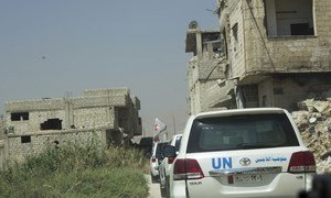 Inter-agency convoy to Duma, east Ghouta in the buffer-zone crossing the conflict line.