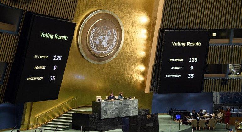 Голосование  в  Генеральной  Ассамблее  ООН по резолюции, касающейся статуса Иерусалима. Фото ООН
