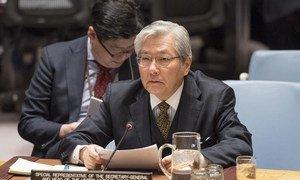 Tadamichi Yamamoto, Représentant spécial du Secrétaire général et Chef de la Mission d'assistance des Nations Unies en Afghanistan (MANUA) lors d'une intervention au Conseil de sécurité . Photo : ONU / Eskinder Debebe