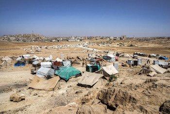 Un asentamiento para personas desplazadas en la gobernación de Amran, en Yemen.