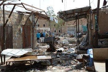Рынок в йеменском городе Сааде после бомбардировки