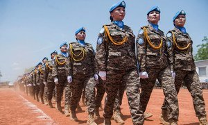 Members of the Mongolian contingent at the UN Mission in South Sudan during a medal ceremony in May 2017.