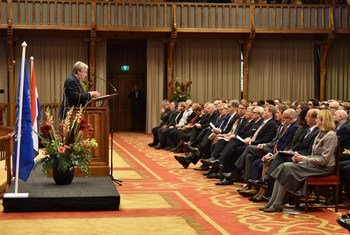Secretary-General António Guterres delivers the keynote speech during closing ceremony of ICTY at The Hague.