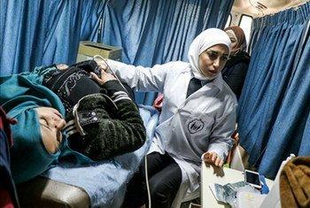 L'UNFPA et le Croissant rouge arabe syrien ont pu atteindre Sheikh Maqsoud, à Alep, en Syrie, fin décembre. Photo UNFPA Syrie