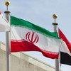 Флаг Ирана у штаб-квартиры ООН в нью-ЙОрке