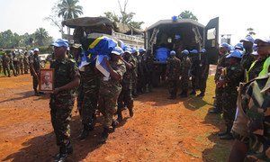 Ceremony in Beni, Democratic Republic of the Congo, paying tribute to the 14 UN peacekeepers who were killed in early December 2017 during an attack on the UN mission's base in Semuliki. Photo MONUSCO/Alain Coulibaly.