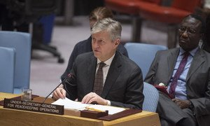 Jean-Pierre Lacroix, Under-Secretary-General for Peacekeeping Operations, briefs the Security Council on the reports of the Secretary-General on the African Union-UN Hybrid Operation in Darfur (UNAMID).