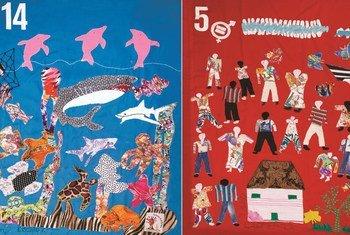 Los tejidos de los Objetivos de Desarrollo Sostenible, hechos por las mujeres del grupo Costurero de la Memoria.