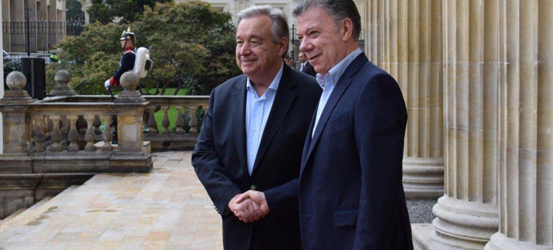 UN Secretary-General António Guterres (left) meets with Colombian President Juan Manuel Santos Calderón in Bogotá on 13 January 2018. UN