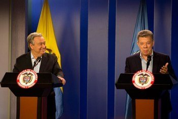 联合国秘书长古特雷斯13日抵达哥伦比亚首都波哥大,并与总统桑托斯举行会唔。