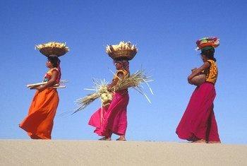 Mujeres de la comunidad indígena huave en México.
