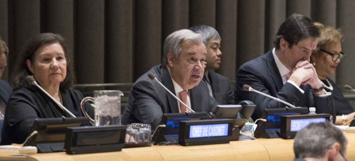 Secretary General António Guterres briefs an informal meeting of the General Assembly on his concerns for 2018.