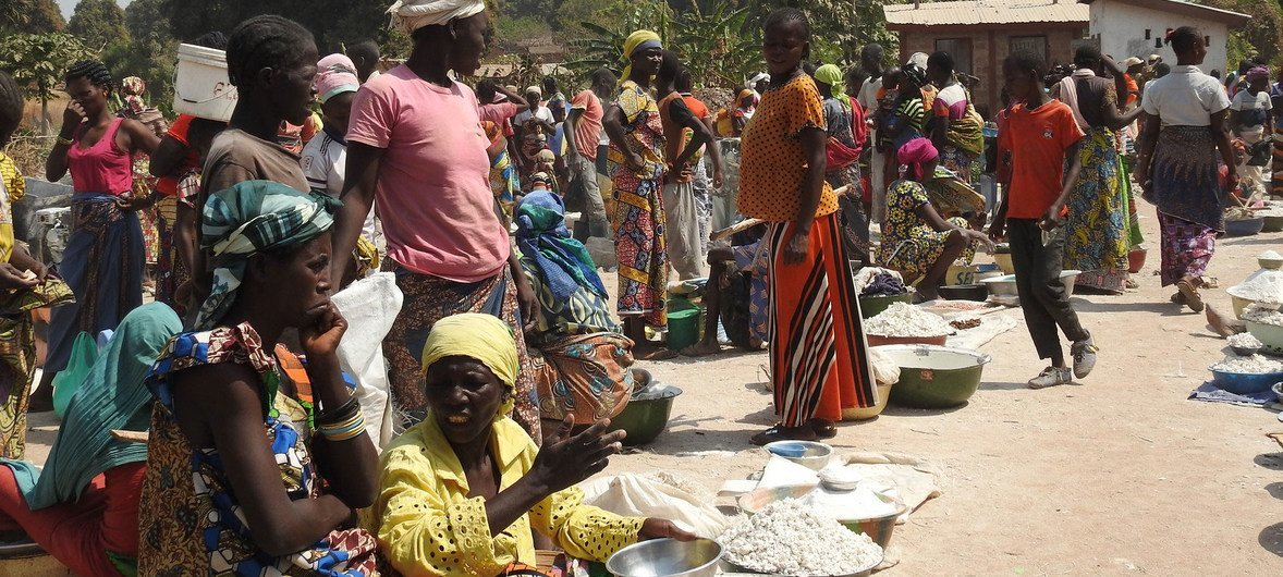 Displaced women and children in at one of the spontaneous sites where internally displaced people have gathered in Paoua town, Central African Republic.