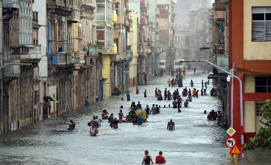 Wide shot of Havana, Cuba, in the aftermath of Hurricane Irma, which wrought terrible destruction across the Caribbean in 2017.