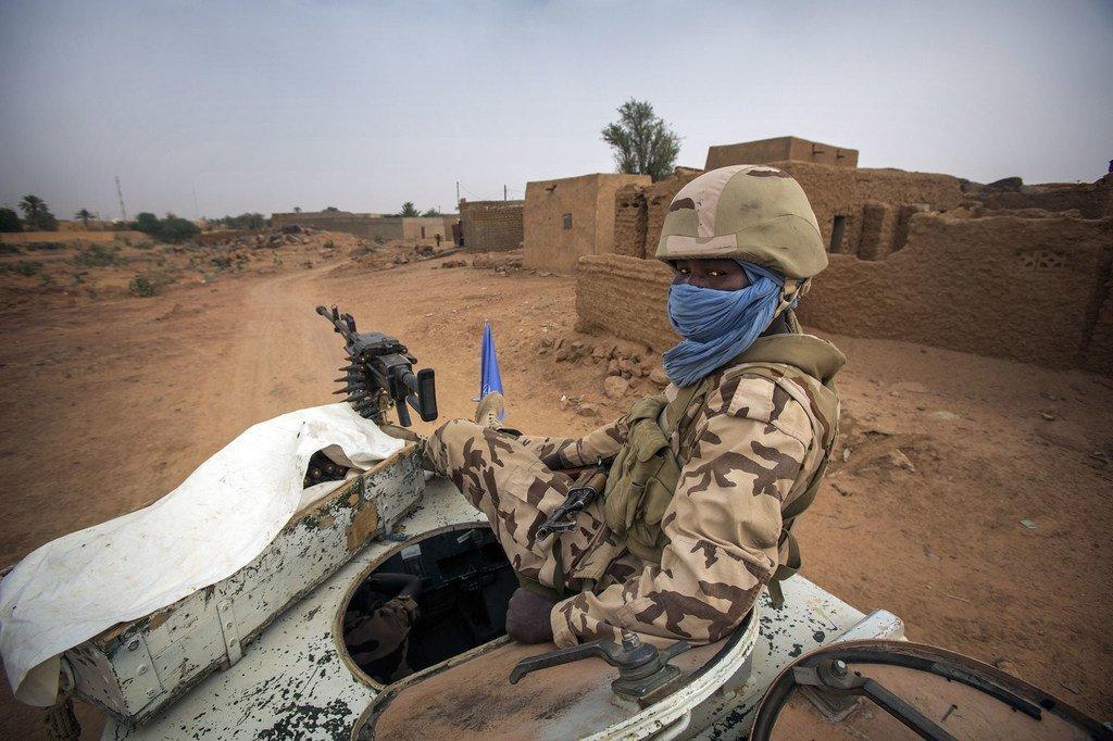 Un Casque bleu tchadien à Kidal. (Photo d'archives)