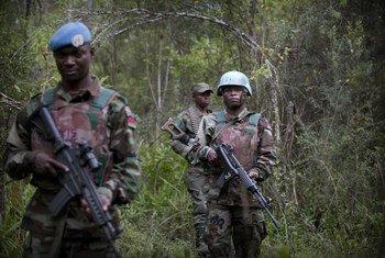Cascos azules de la MONUSCO patrullan con soldados de las fuerzas armadas congoleses.