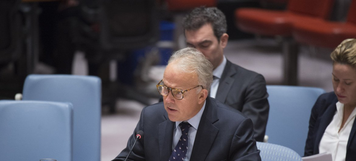 Michael Keating, the Special Representative of the Secretary-General and Head of the UN Assistance Mission in Somalia (UNSOM), briefs the Security Council.