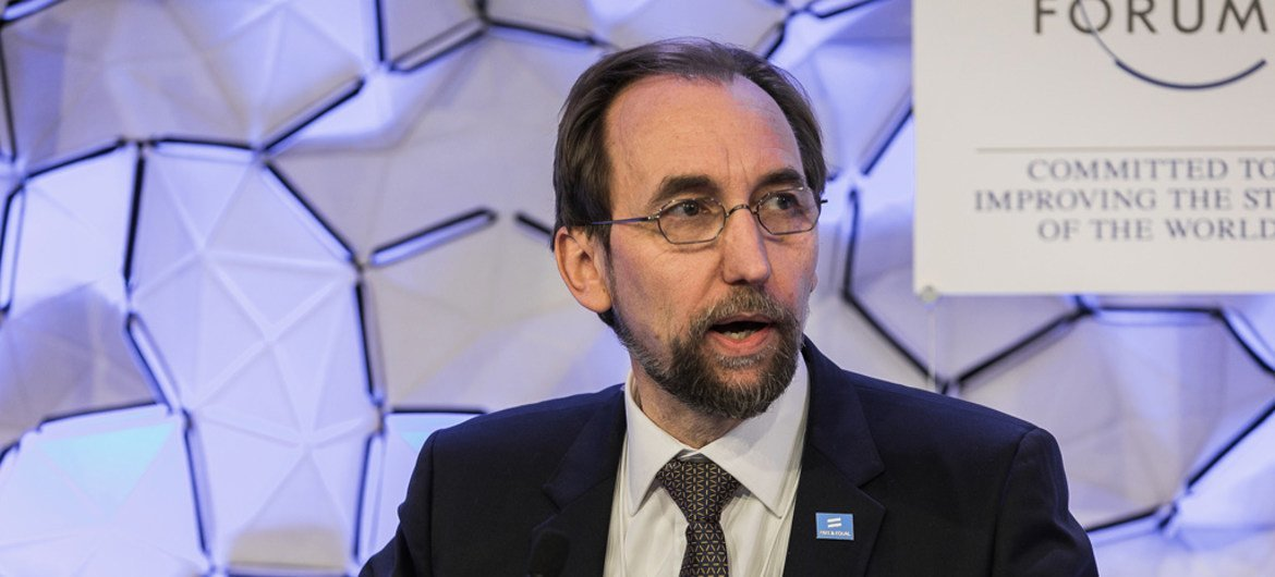 """Zeid Ra'ad Al Hussein, UN High Commissioner for Human Rights, speaking during """"Free and Equal: Standing Up for Diversity"""" session at the Annual Meeting 2018 of the World Economic Forum in Davos, Switzerland."""