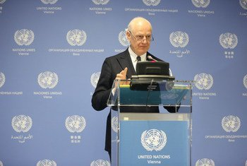 UN Special Envoy on Syria Staffan de Mistura speaking to reporters as Special Meeting on Syria wraps up at the UN in Vienna.